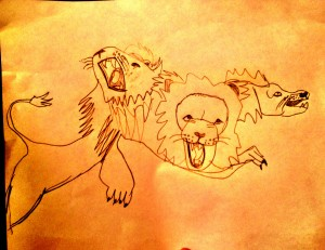 Quantum Lions (Charlie copied this cool pic from a Beast Quest book by Adam Blade)